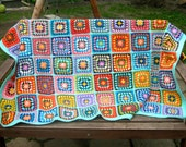Granny square afghan blanket, warm wrap, colorful, handmade, crochet, patchwork, bed cover, blue, cozy