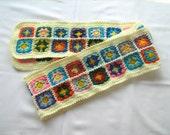 Pale Yellow Granny Square Scarf, crochet, unique design, warm, hippie style, shawl, handmade, bohemian