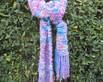 Knit scarf, handmade, bright colors, unique design, blue, fringes, shawl, warm and cozy