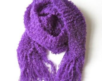 Knit scarf purple warm handmade bright color shawl fringes wool