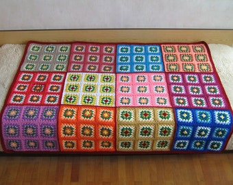 Granny square afghan, red, colorful, home decor, retro, bed, cover, blanket, crochet, sofa, picnic, cozy and warm