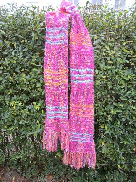 Knit scarf - fuchsia and more, handmade, bright colors, unique design, shawl, fringes, warm and cozy