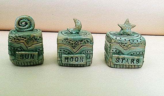 Sun, Moon, Star Miniature Clay Boxes