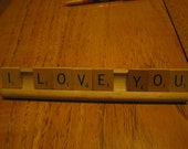 Recycled Wood Scrabble Game Tiles on Tray...I Love You
