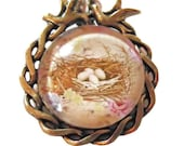 4 Eggs in a Nest,Scalloped Edge, Antiqued Brass necklace