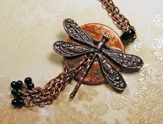 Dragonfly Washer Necklace, Unique Copper finish, Beaded Tassel