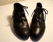 SALE Vintage Women's Black Leather Dr. Scholl's Lace-Up Brogue Booties, Size 6