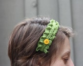 Elegant Green Vintage Trim with Yellow Button Headband