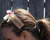 Spring Orchid atop mocha satin folded ribbon headband