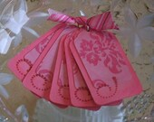Set of 5 Small Patterned Pink Tags 2.5 inch