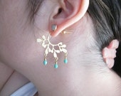 40 percent off  Cypress.  Matte Gold Branch Earrings with Turquoise.