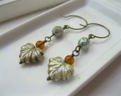Autumn Leaves Earrings.  Czech Glass Maple Leaves, Amber Beads and Green Luster Beads