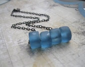 Pieces.  Blueberry Bottle Glass Necklace