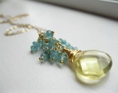 30 percent off  Waterfall.  Apatite and Citrine Cluster Necklace.