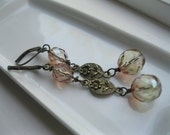 Long Antique Brass Earrings--Pastel Peach Pink Glass--Stamped Flower--Coralee