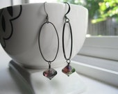 Vitrial Gunmetal Earrings--Disco--Long Dangle--Purple Green--Smoky Grey--Illusion