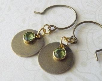 Petite Disc with Swarovski Channel Set Earrings.
