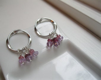 Silver Twisted Hoops with Amethyst Gems.  Berries