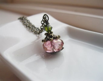 Petite Pink Luster Necklace on Antique Brass. Little Lantern.