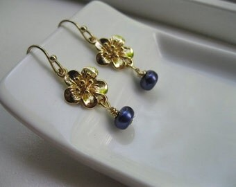 Gold Tropical Flower Earrings--Peacock Blue Pearl--Elegant--Bridesmaids--Cinta