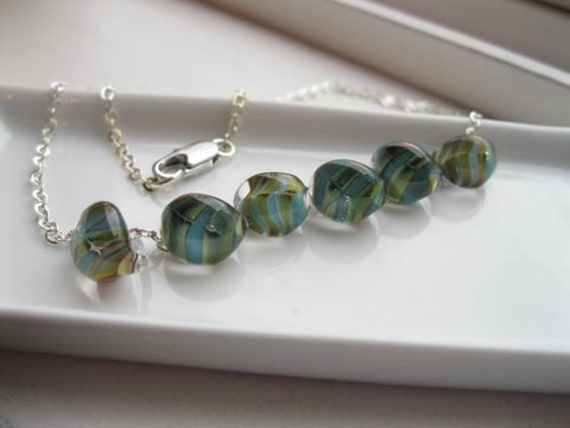 Glass Lampwork Necklace-- Silver--Aqua, Green and Brown--Sun--Beach-- Surf--South Miami