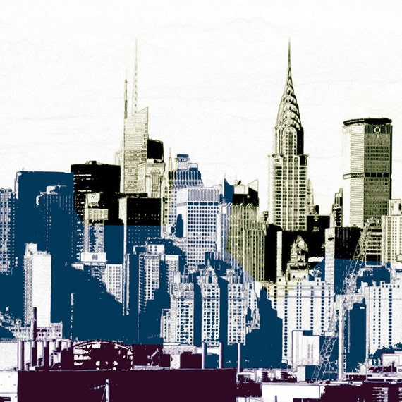 New York City Architectural print, architecture art, poster. Layers of Mid Town Manhattan Skyline with rustic pop art graphic