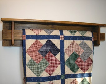 Reclaimed wood - 3 foot quilt rack with shelf [TC95-3]
