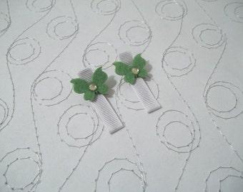 Green Butterfly hair clip set