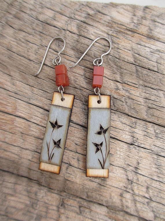carnelian and blue wood burned flower earrings 15-WD-33