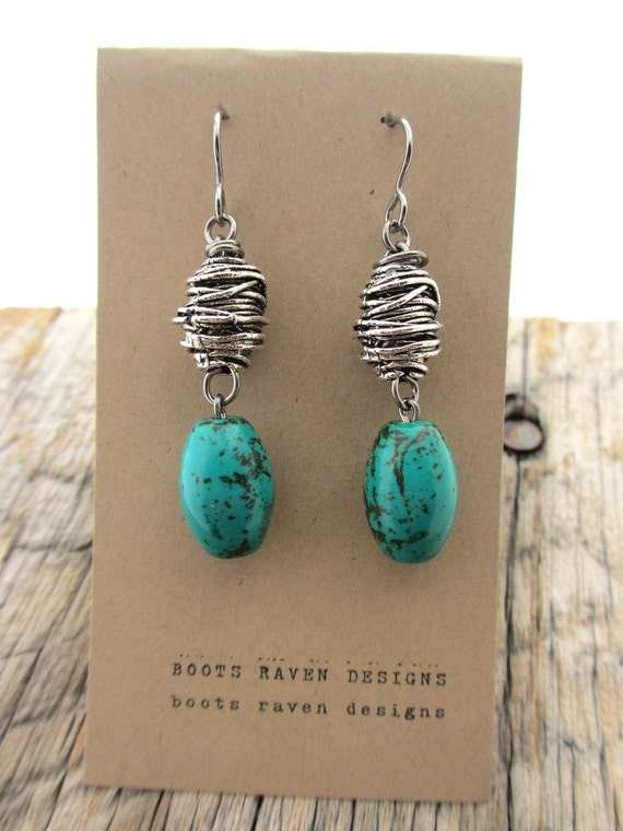 swirled silver bird's nest and turquoise earrings 227