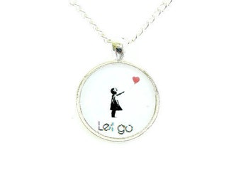 Banksy Style Heart Balloon Girl Necklace Let Go Bright Silver Image Silhouette Academy Awards Pendant