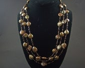 Bronze Freshwater Pearl Coin Necklace