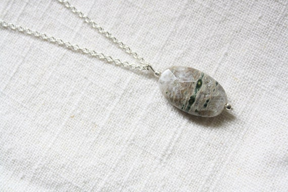 Ice Storm- Oval Natural Stone Necklace
