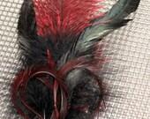 Dark Red Feather Hair Fascinator