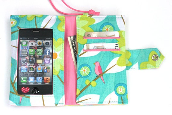 Wide Screen Touch/Handmade  Iphone / Ipod sleeve with wristlet ( Love Birds)