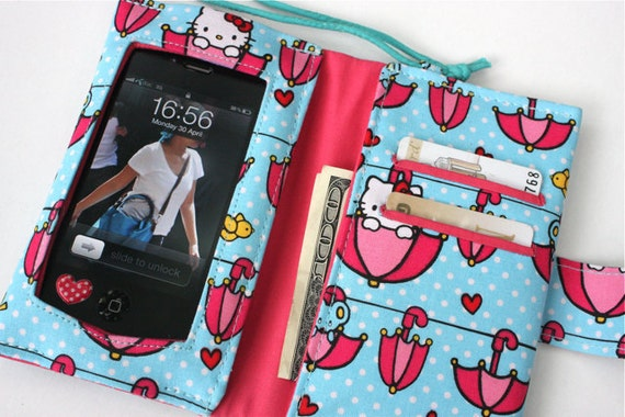 Wide Screen Touch/Handmade  Iphone / Ipod sleeve with Zippered pocket(Hello Kitty)