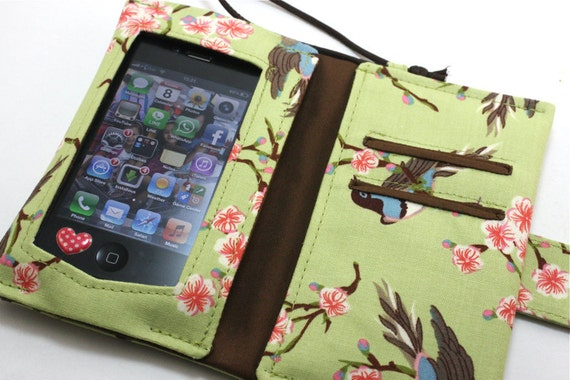 Wide Screen Touch/Handmade  Iphone / Ipod sleeve with Zippered pocket(Bloom Birds)