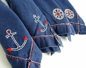 Vintage Embroidered Napking Set Nautical Red White Blue Spring Summer Father's Day