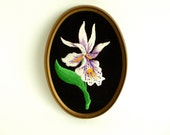 Vintage Framed Embroidery Wall Art Iris Flower Mother's Day Retro Gift