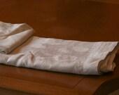 Formal antique linen tablecloth and napkin set 80 x 68 tonal white floral c 1940