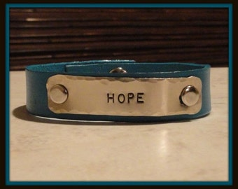 """Hope... 1/2"""" Leather cuff...customize one today..."""
