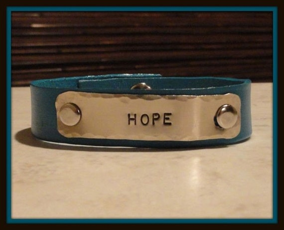 "Hope... 1/2"" Leather cuff...customize one today..."
