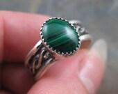 Malachite Celtic Sterling Ring - Size 8 - Unisex Mens Malachite RIng