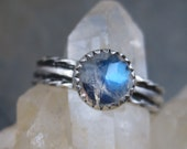 Blue Sheen Rainbow Moonstone - Sterling Oxidized  Band size 8