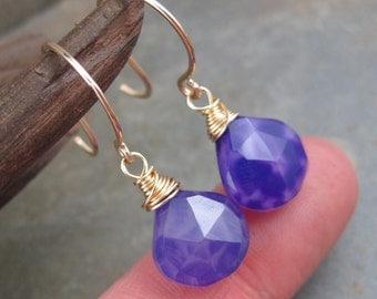 Purple Chalcedony Briolette Earrings - Faceted Tear Drops -  Gold Filled Hook Earrings