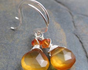 Golden Chalcedony Briolette Earrings -Sterling Hooks - Swarovski Crystal