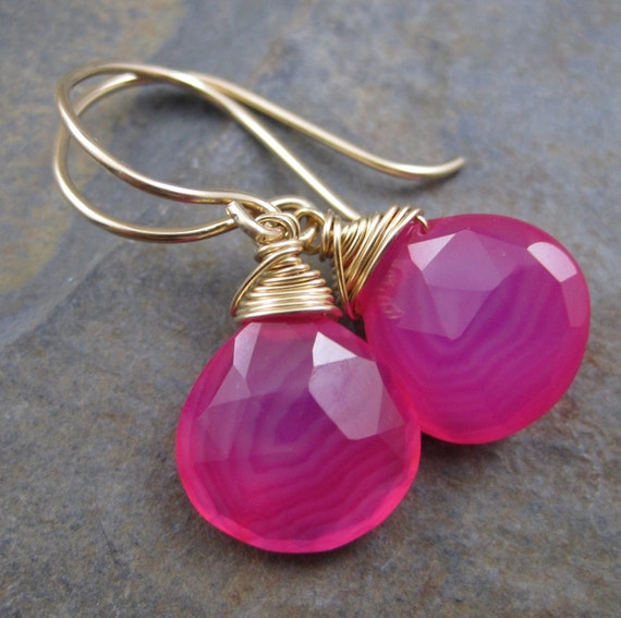 Hot Pink Chalcedony Briolettes - Hard Candy - 14kt Gold Filled Hook Earrings