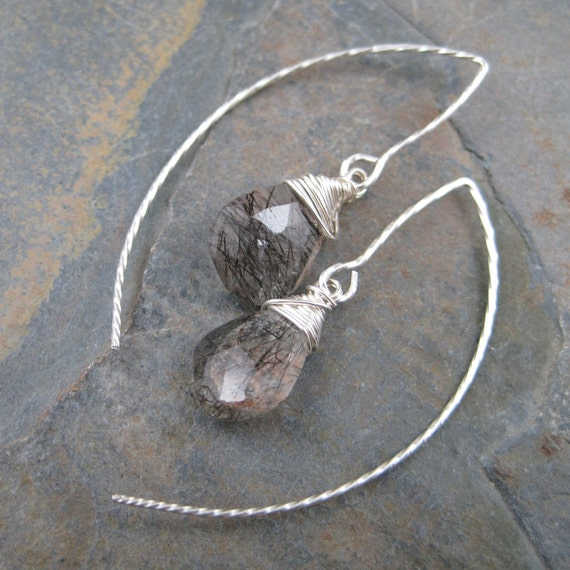 Rutilated Quartz Twisted  Fish Hook Threads - Sterling Silver Earrings
