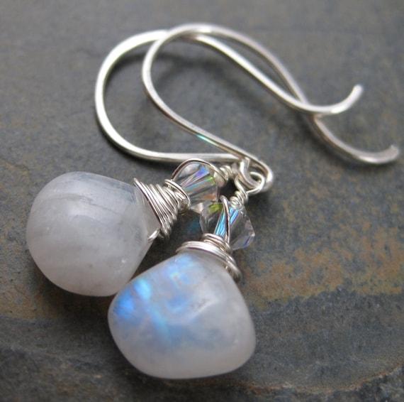 Blue Moonstone Briolette Earrings -SmoothTear Drops -  Sterling Silver Hook Earrings