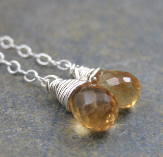Honey Citrine Briolettes on  Sterling Chain Ear Threads